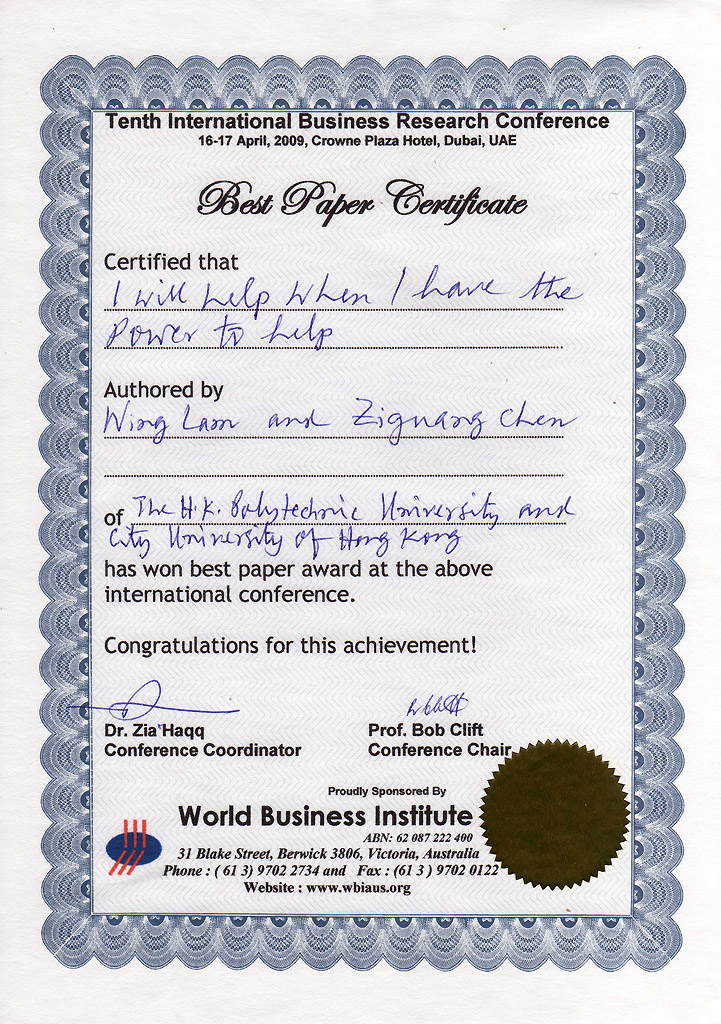 research award department of management city university of  best paper award tenth international business research conference